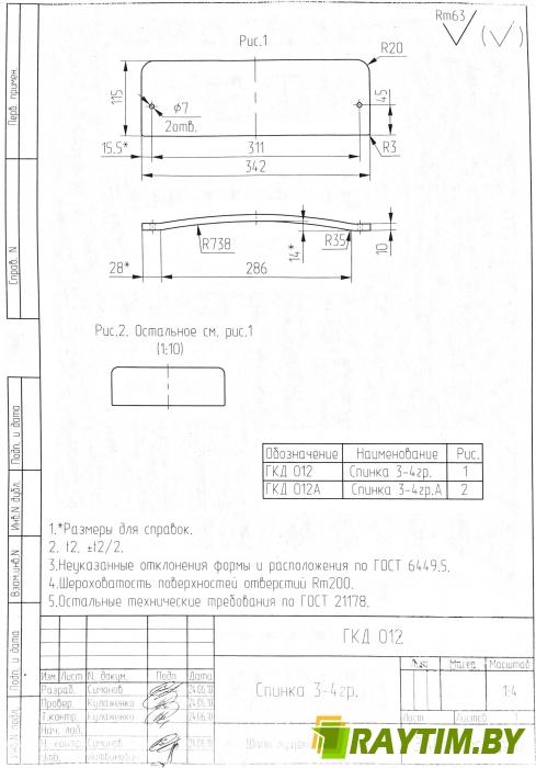 Спинка - Ростовая Группа 3-4 ---115*340  мм   № 12
